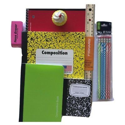 Back to School Supplies Bundle – Red Spiral Notebook, Yellow Composition Book,