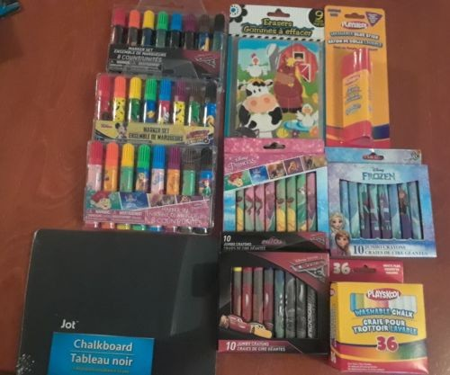 Back To School Supplies Lot Younger Children Markers Crayons Erasers Glue Cars