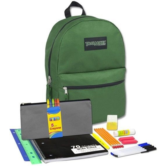 Back to School Supplies Lot Green Backpack Set Bag Pencils Case Paper SHIPS  FAST