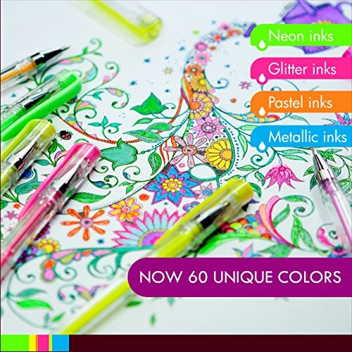 60 Gel Pen Set, Colors - Metallic, Glitter, Neon, Pastel, Basic ...
