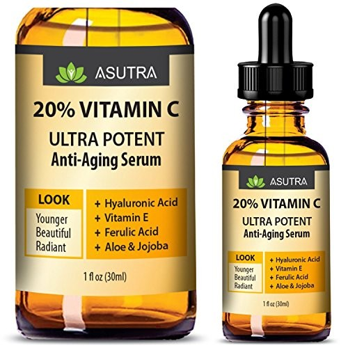 ASUTRA 20% VITAMIN C Anti Aging Serum - ULTRA POTENT & EFFECTIVE/With  Ferulic & Hyaluronic Acid, Vitamin E, Aloe & Jojoba + FREE E-Book (one 1oz