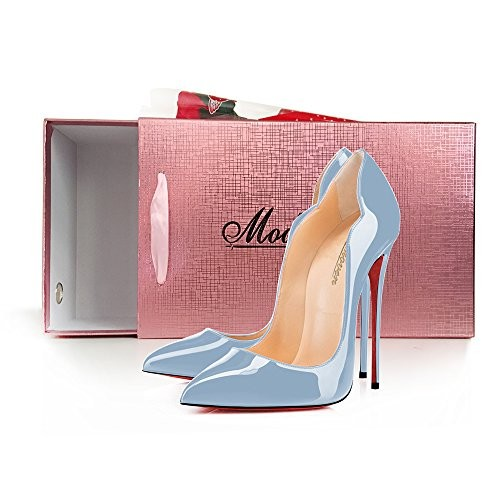 c575a3f356420 Modemoven Women's Pale Blue Patent with Red Soles Sexy Point Toe ...