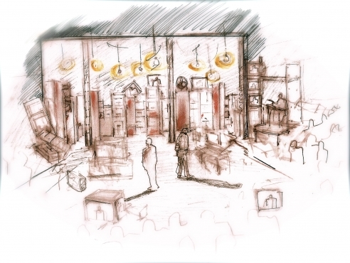 Set design concept sketch by Zeynep Bakkal