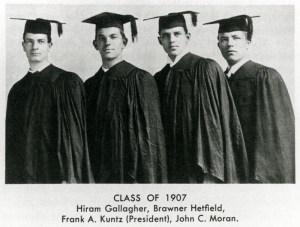 Portrait of Law School's Class of 1907.  Hiram Gallagher, Brawner Hefeld, Frank A Kuntz (President), John C. Moran
