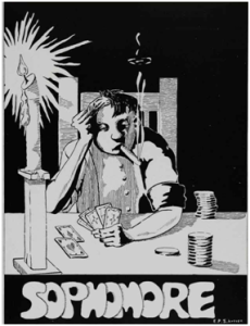 1925 Cardinal Yearbook Depiction of a Sophomore. I personally blame that newfangled Jazz music.