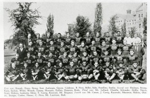 CUA's other great college football team, the 1940 Sun Bowl participants. The Cardinal Yearbook, 1940, p. 69