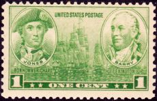 America's first naval heroes, Fighting Celts of the Sea, Scottish-born John Paul Jones and Irish-born John Barry, U.S. Postage Stamp, 1 cent, December 15, 1936