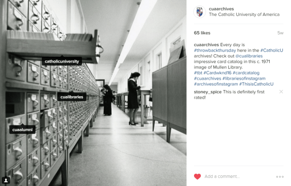 Know your hashtags and your audience! Instagram post from @CUAarchives