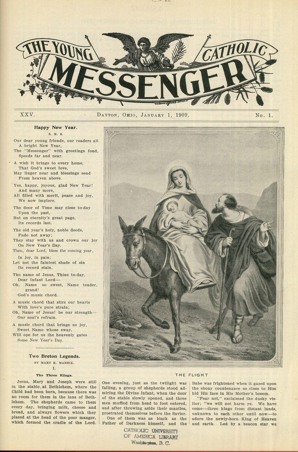 january 1 1909 cover includes a new years poem and an illustration of the flight of the holy family to egypt the young catholic messenger collection