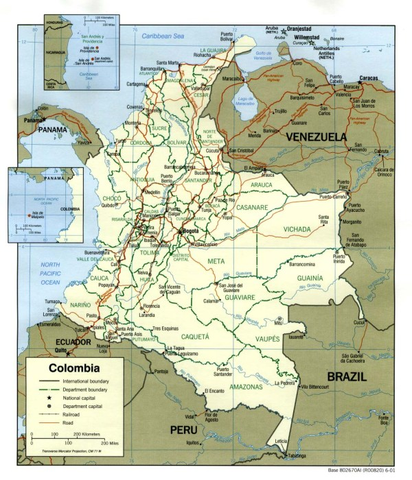 Colombia Maps PerryCasta241eda Map Collection UT