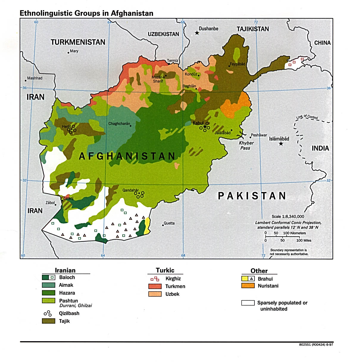 CIA Map of Afghanistan Ethnic Groups, 1997