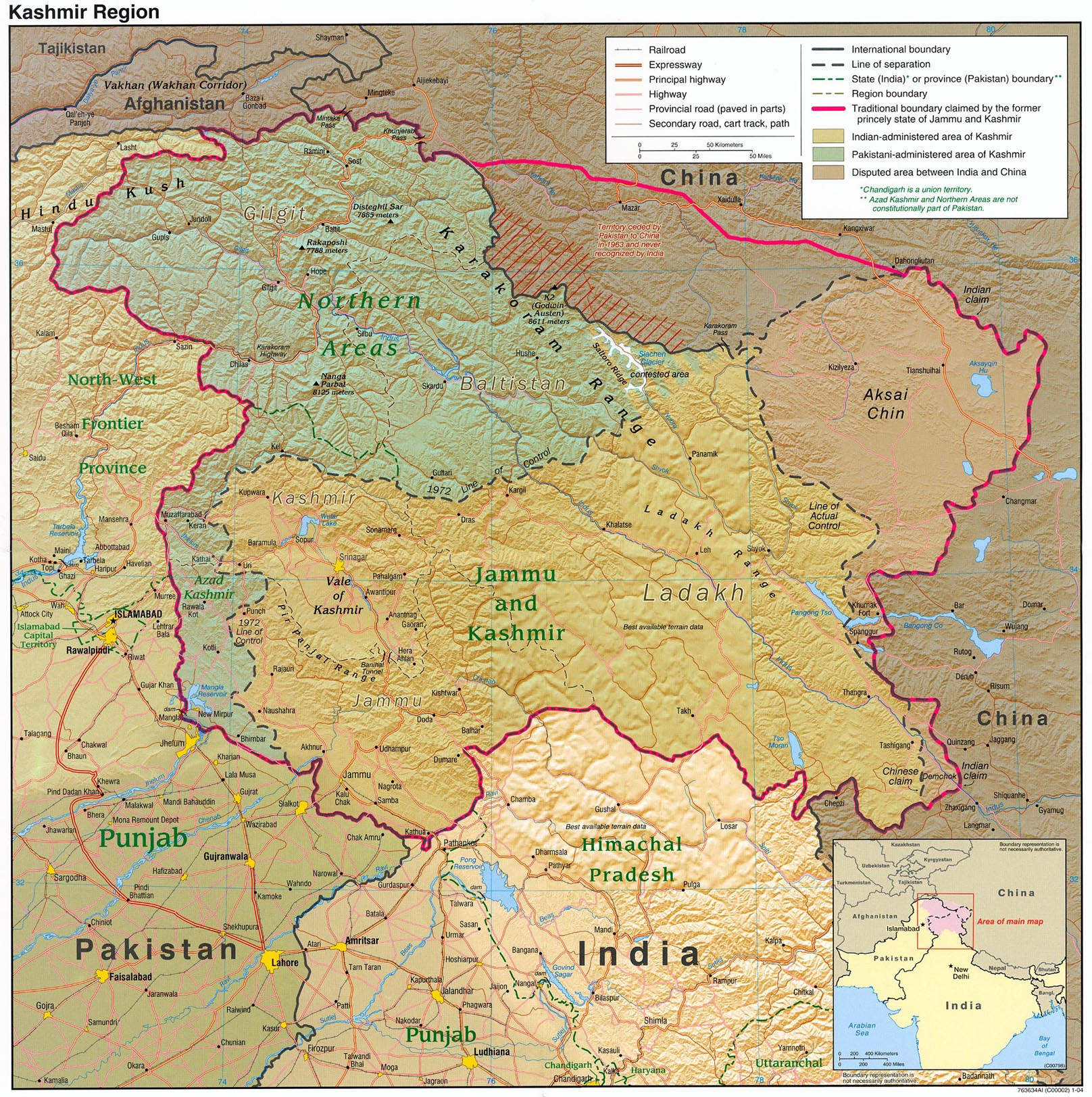 State and District boundaries: Census of India - 2001 Census State ...