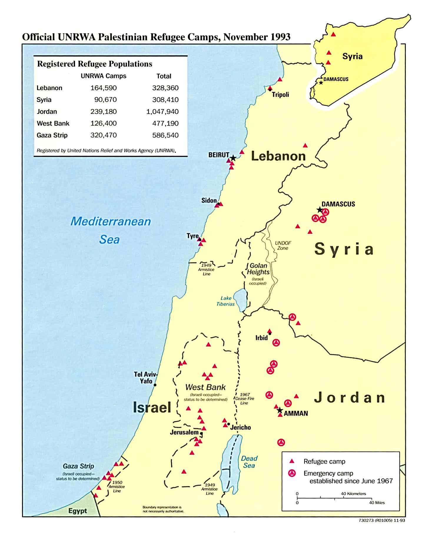 1Up Travel - Maps of West Bank and Gaza Strip. Palestinian Refugee Camps November 1993 (133K)