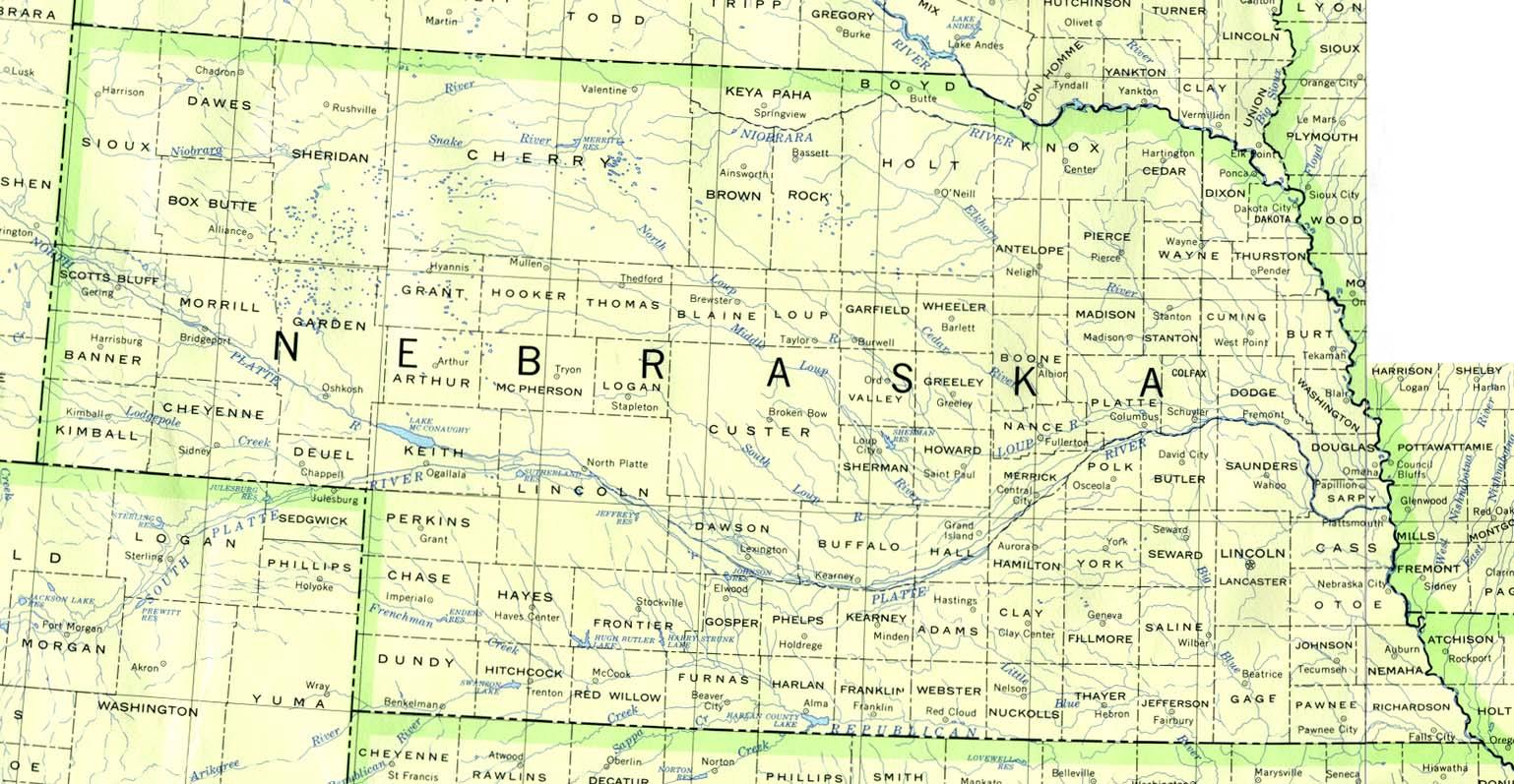 Nebraska Map Travel Information Hotels Accommodation