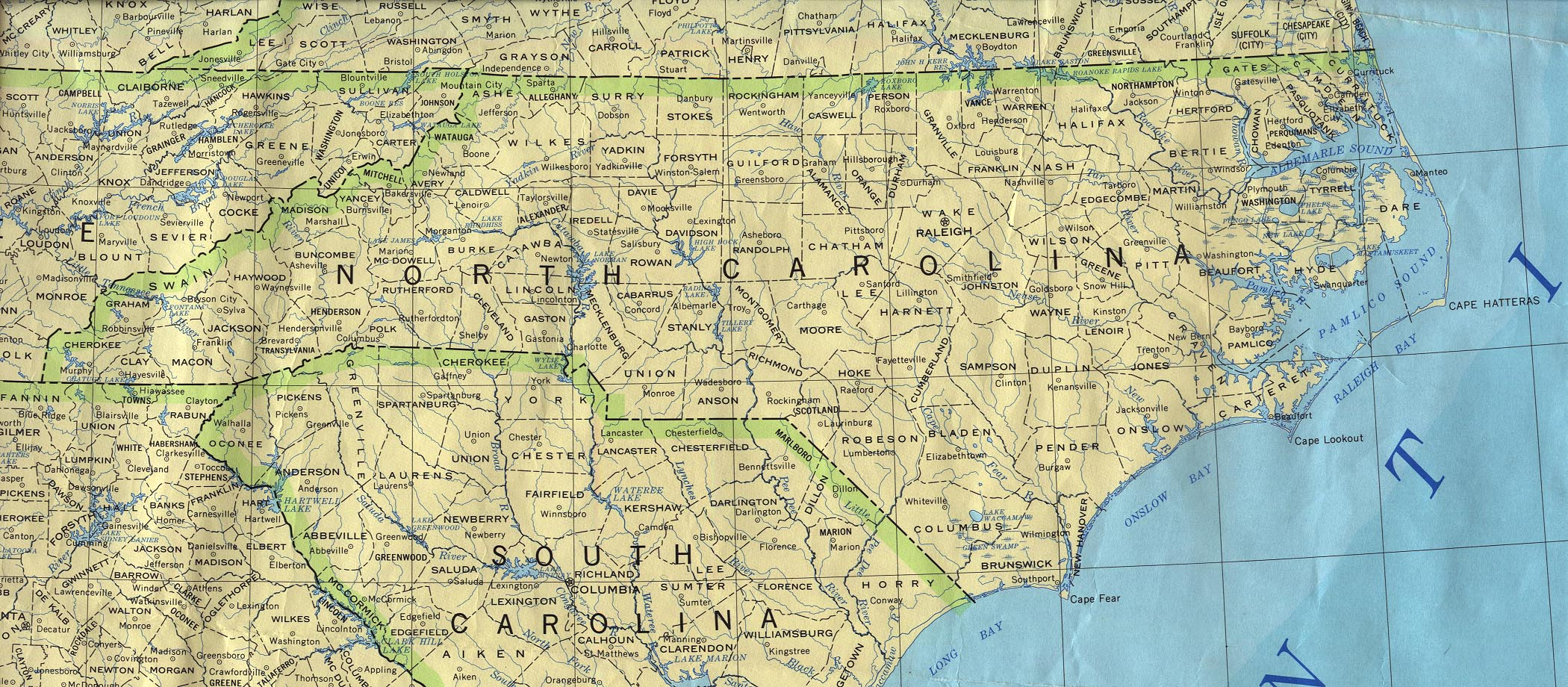 North Carolina Outline Maps And Map Links