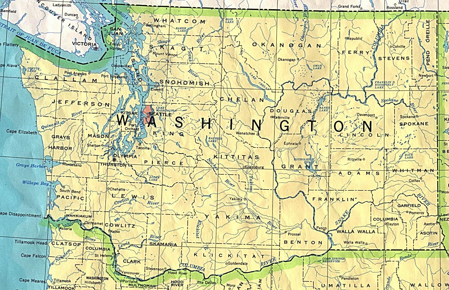 Washington Outline Maps And Map Links
