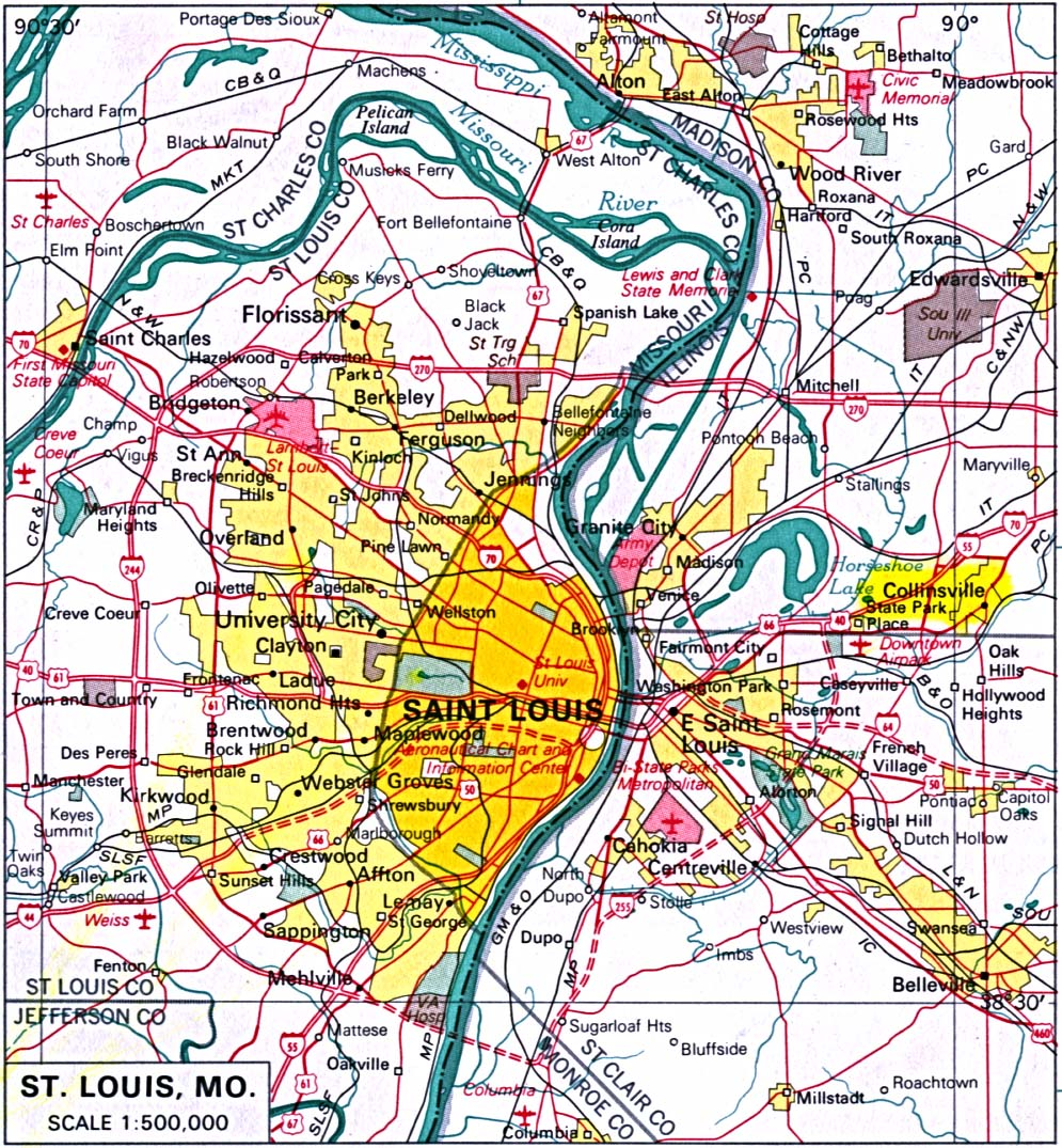 The deep orange is St. Louis City; the other colors are incorporated municipalities (suburbs) outside the city limits. The city is 61 square miles, almost the exact same size as Washington D.C. However, this makes it a very smaller city when comparing its size to other nearby urban centers, such as Chicago (227 square miles) and Kansas City (318). That means that, even with a severely diminished population (about 856,000 in 1950, down to about 356,000 as of 2007), the city is still somewhat dense.