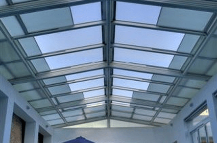SolaGlide  Glass Retractable Skylight  Roofing  Pools Restaurants Patios