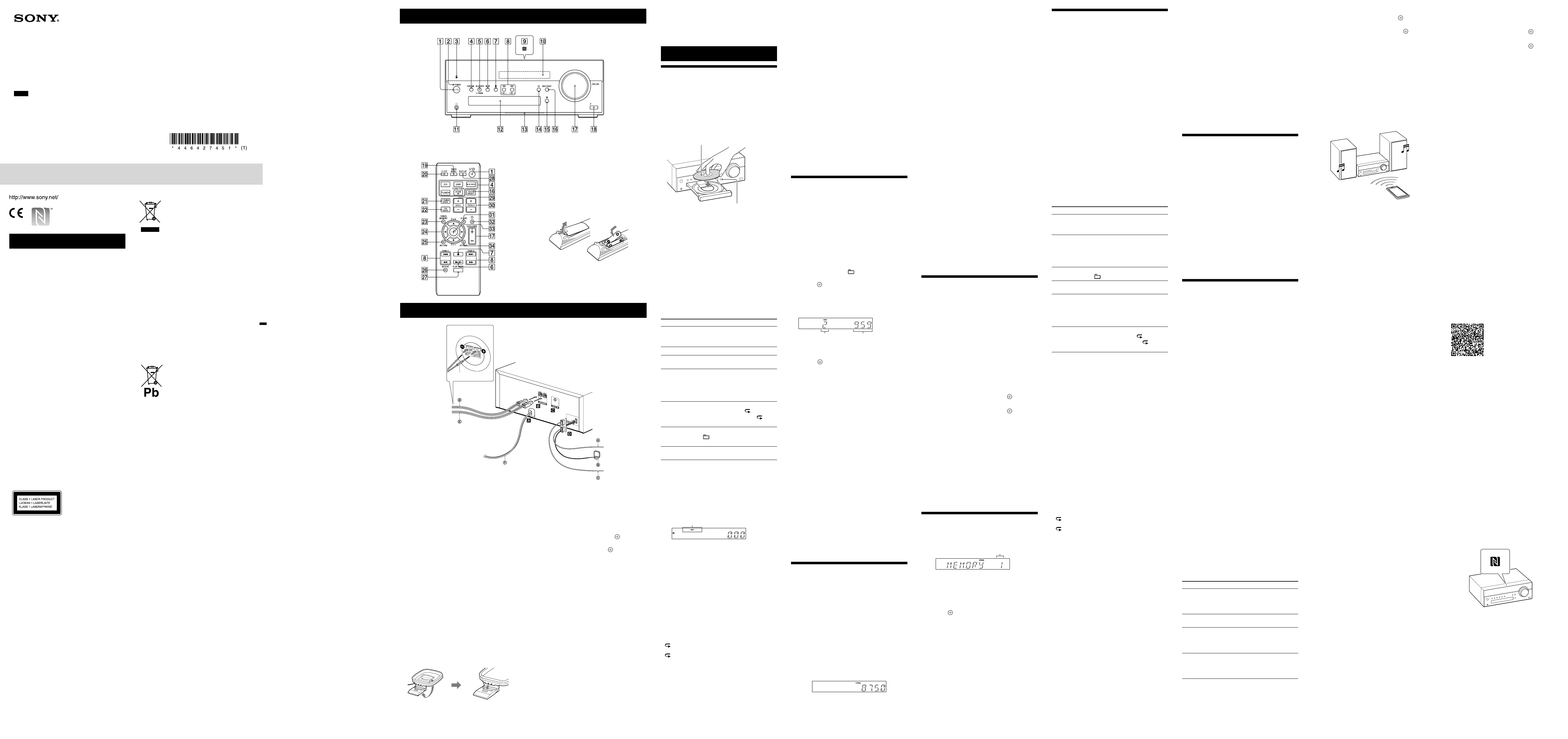 Manual Sony CMT-SBT100 (page 1 of 2) (Dutch)