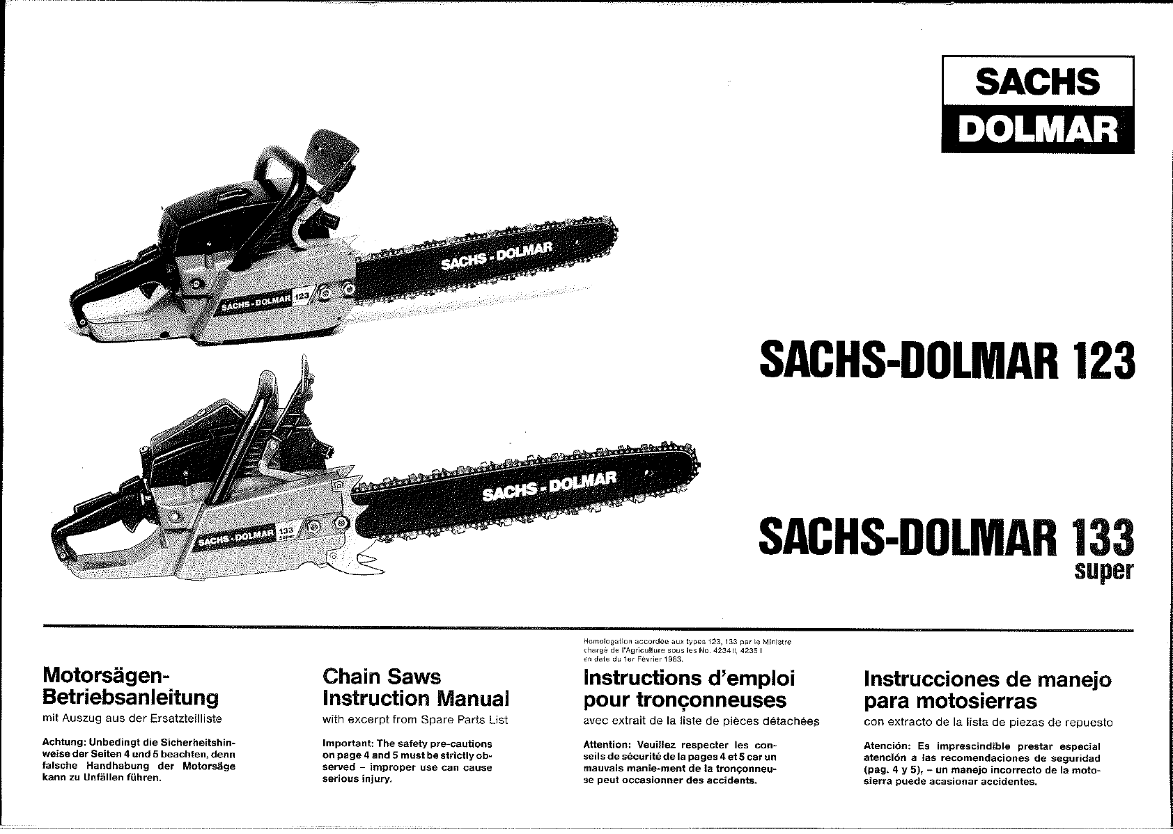 Manual Sachs Dolmar 133 Super (page 1 of 12) (German