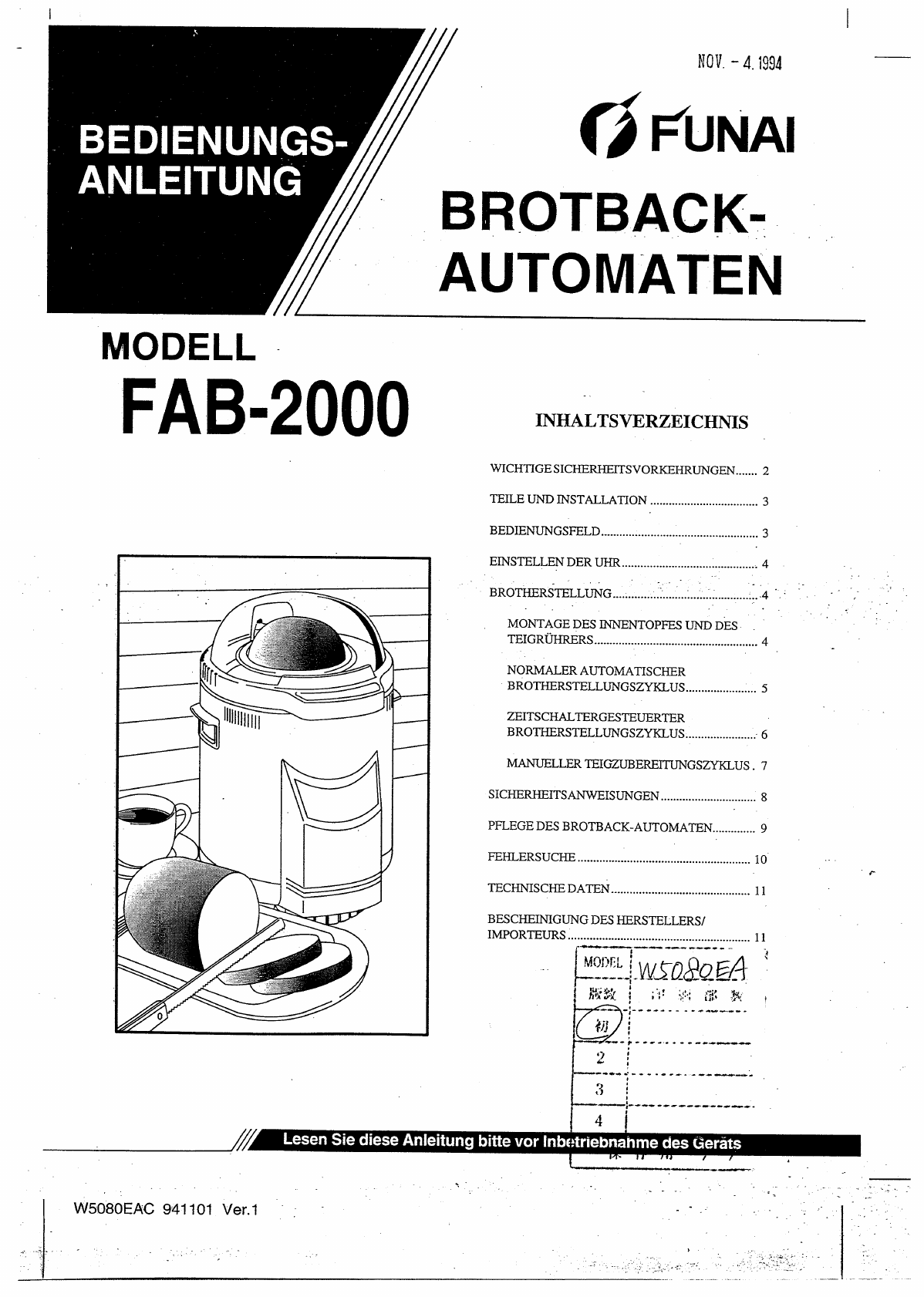 Manual Funai FAB-2000 (page 1 of 12) (German)