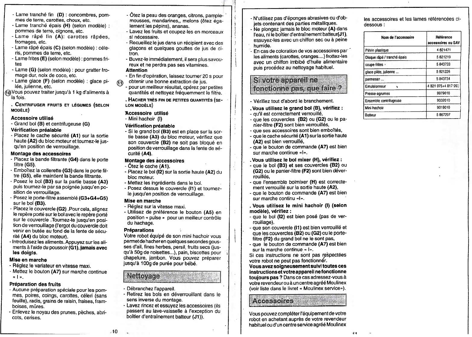 Manual Moulinex Masterchef 750 (page 6 of 6) (French)
