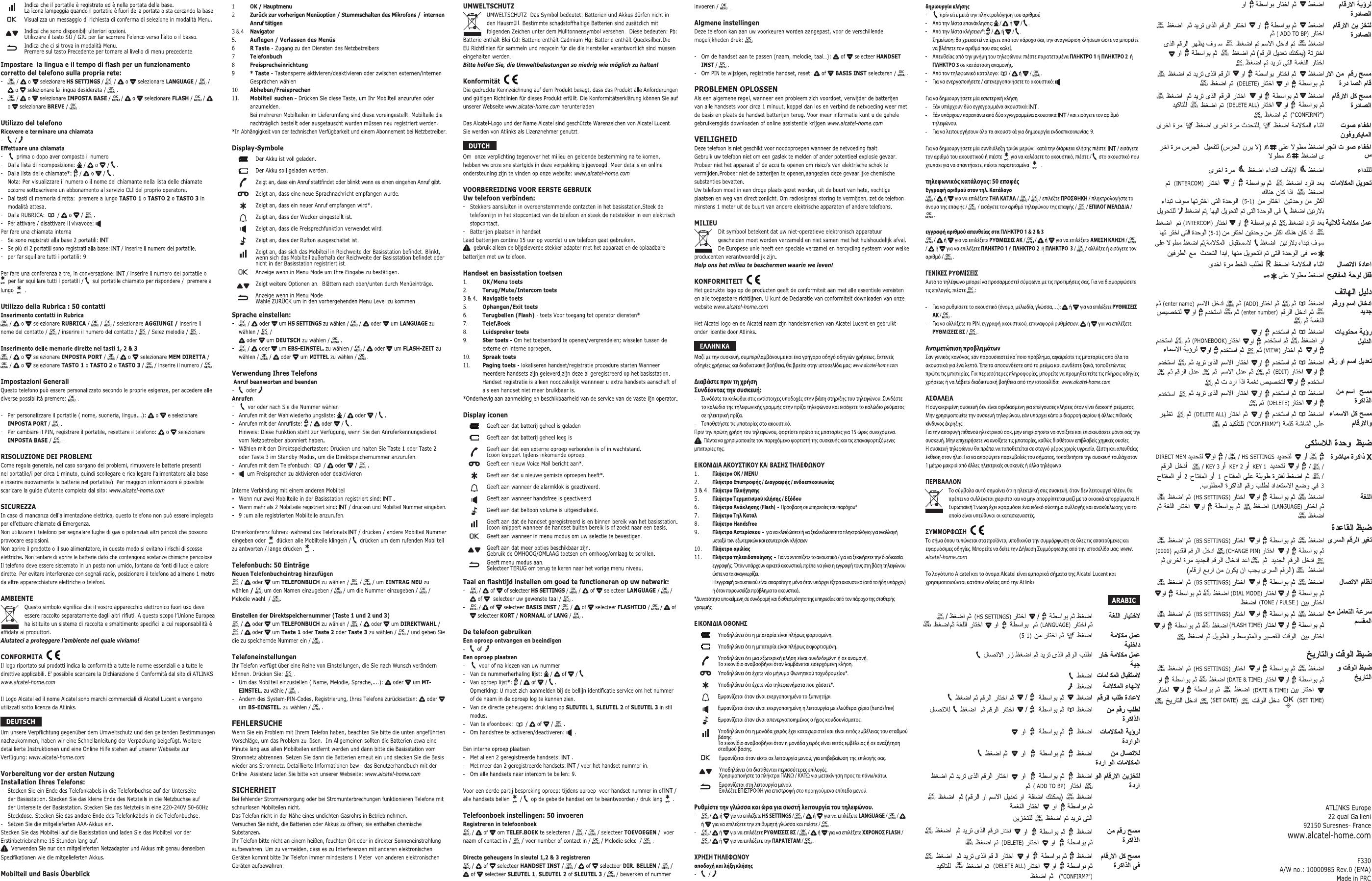 Manual Alcatel F330 (page 2 of 2) (German, English