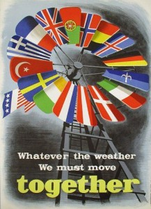 "A windmill made of the flags of Europe with the slogan ""whatever the weather, we must move together"""
