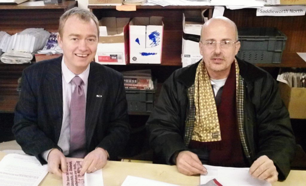 Tim Farron and Paul Walter in Oldham