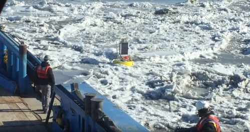Aridea's sensor buoy operating in the frozen waters of Cook Inlet