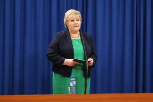 Erna Solberg på pressekonferanse 20. mars 2020. Foto: Eirin Larsen, Statsministerens kontor