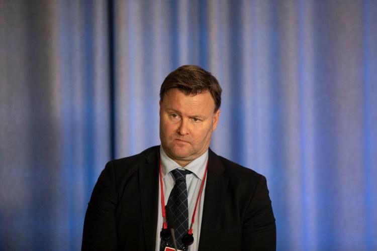 Espen Nakstadn fra Helsedirektoratet på Regjeringens pressekonferanse om smitteverntiltak i mars 2020. Foto: Jan Rickard Kjelstrup CC.BY.NC.