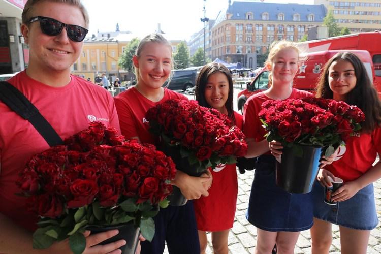 Valgkamp på Youngstorget i 2017. Foto Arbeiderpartiet CC.BY.SA