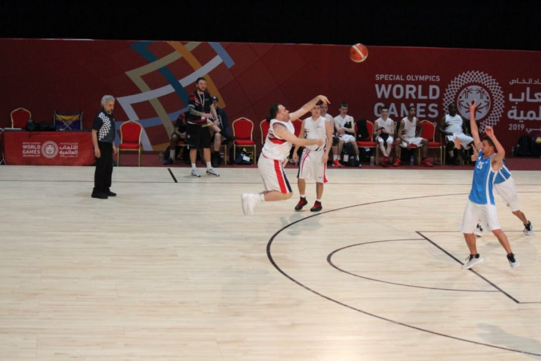 Daniel Bernard scores a three pointer at the Special Olympics