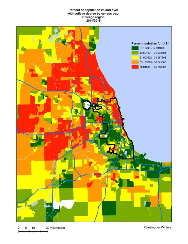 Percent of population 25 and over with college degree by census tract, Chicago region, 2011/2015