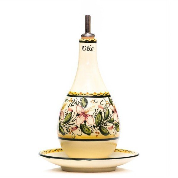 Oliera con piattino in ceramica orchidea  Liberati