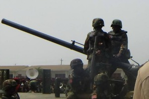 The army brought out the guns strutting their stuff