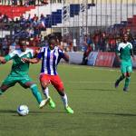 Jerbo fights for ball against Djibouti, he also score against Togo twice