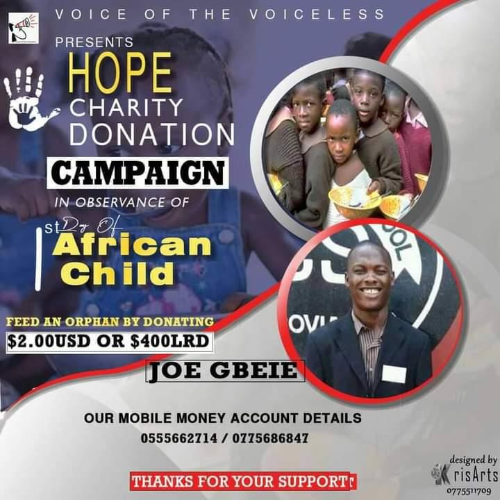 Plakat der Spendenkampagne von Joe Gbeie