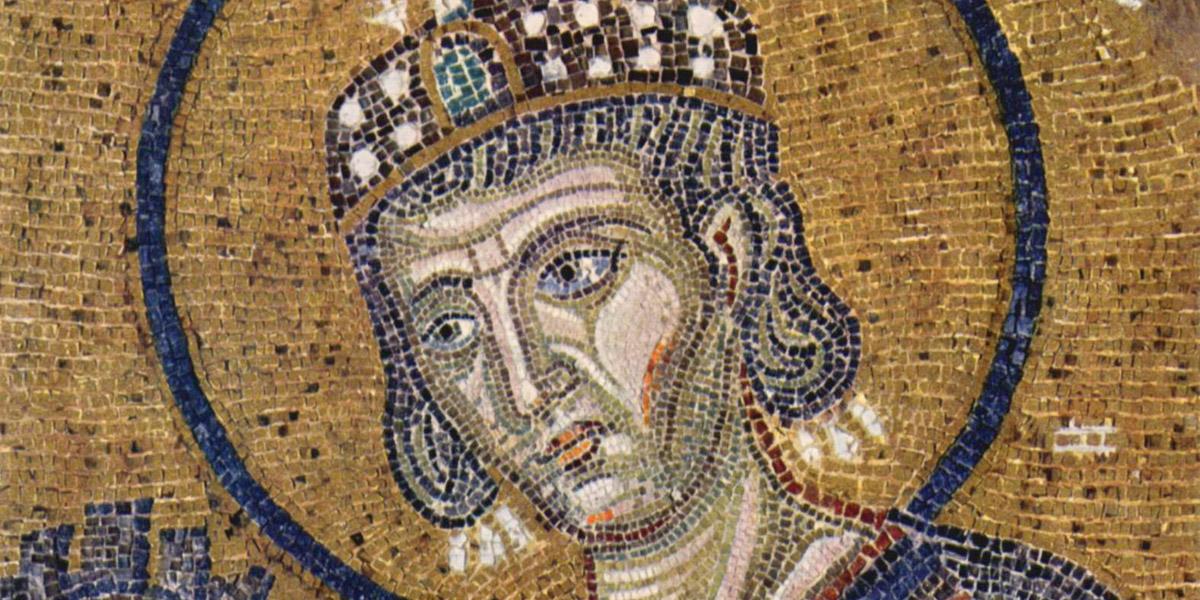 L'imperatore Costantino I offre la città di Costantinopoli al Salvatore