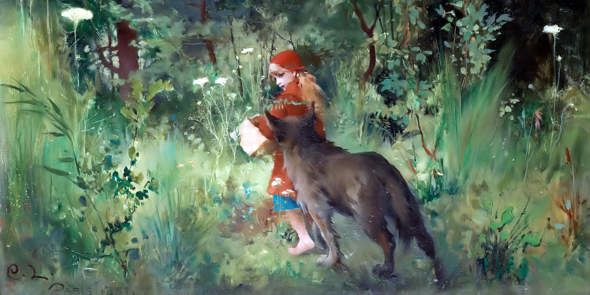 Little Red Riding Hood and the Wolf in the forest di Carl Larsson