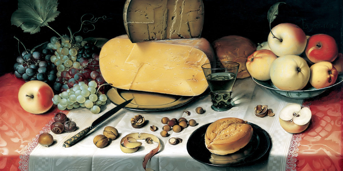 Still-Life with Fruit, Nuts and Cheese di Floris van Dyck