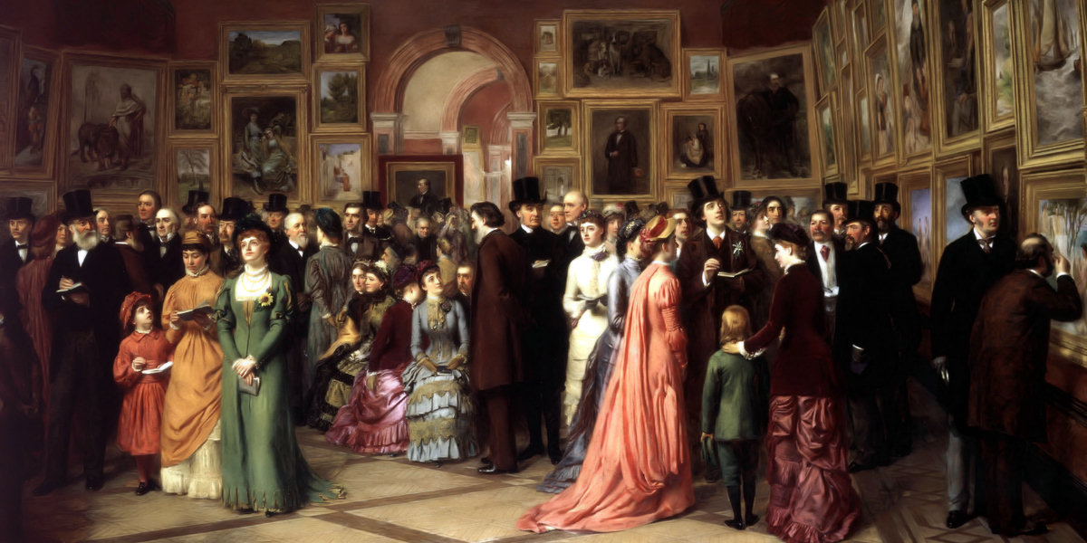 A Private View at the Royal Academy di William Powell Frith