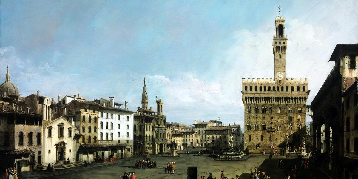 Piazza della Signoria a Firenze di Bernardo Bellotto