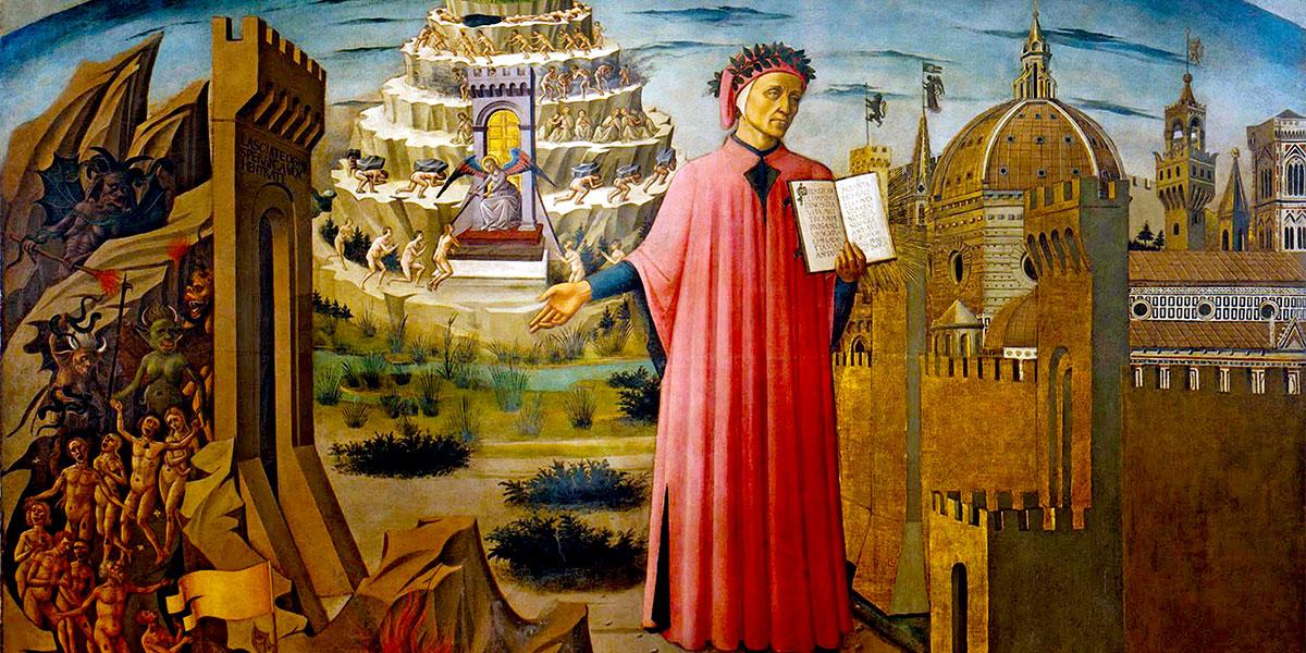 Dante con in mano la Divina Commedia di Domenico di Michelino