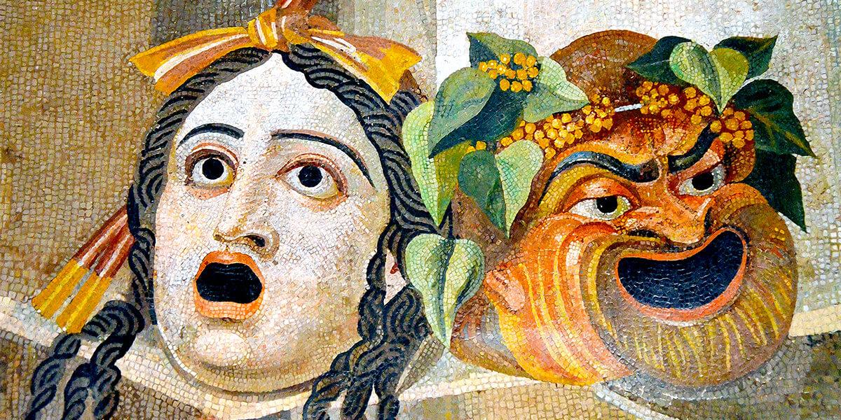 Mosaico romano del I secolo a.C. raffigurante le maschere tragica e comica (Roma, Musei Capitolini)