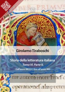 Storia della letteratura italiana. Tomo VI – Parte II, di Girolamo Tiraboschi