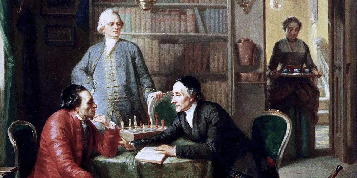 Gotthold Ephraim Lessing e Johann Kaspar Lavater ospiti nella casa di Moses Mendelssohn. Moritz Daniel Oppenheim