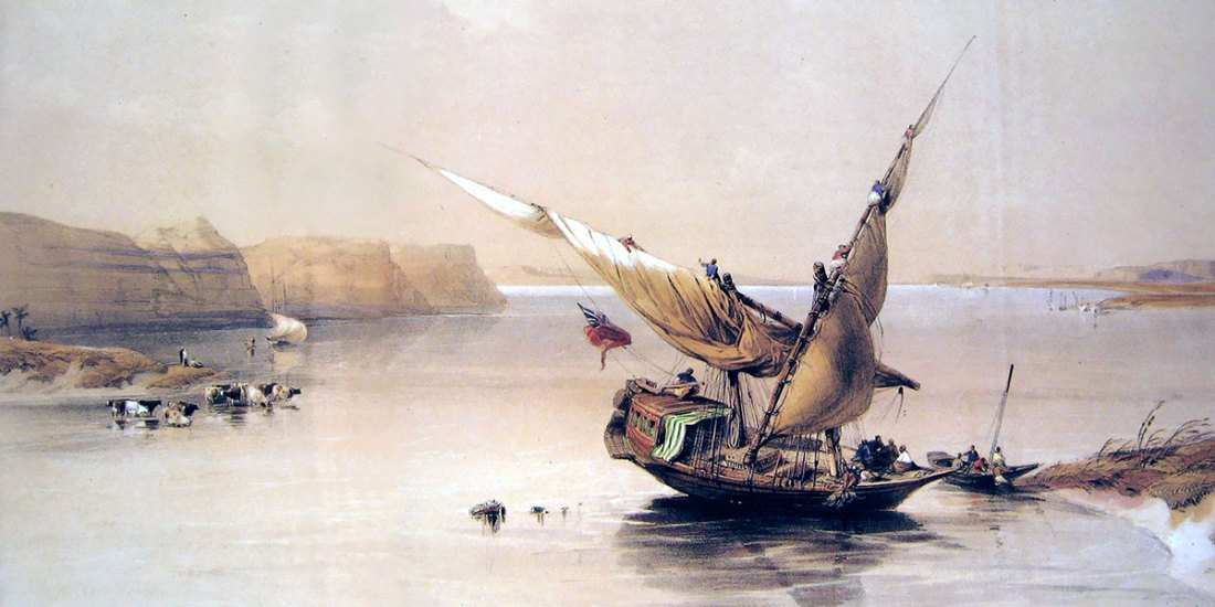 Approach to the Fortress of Ibrim - on the Nile in Nubia. David Roberts