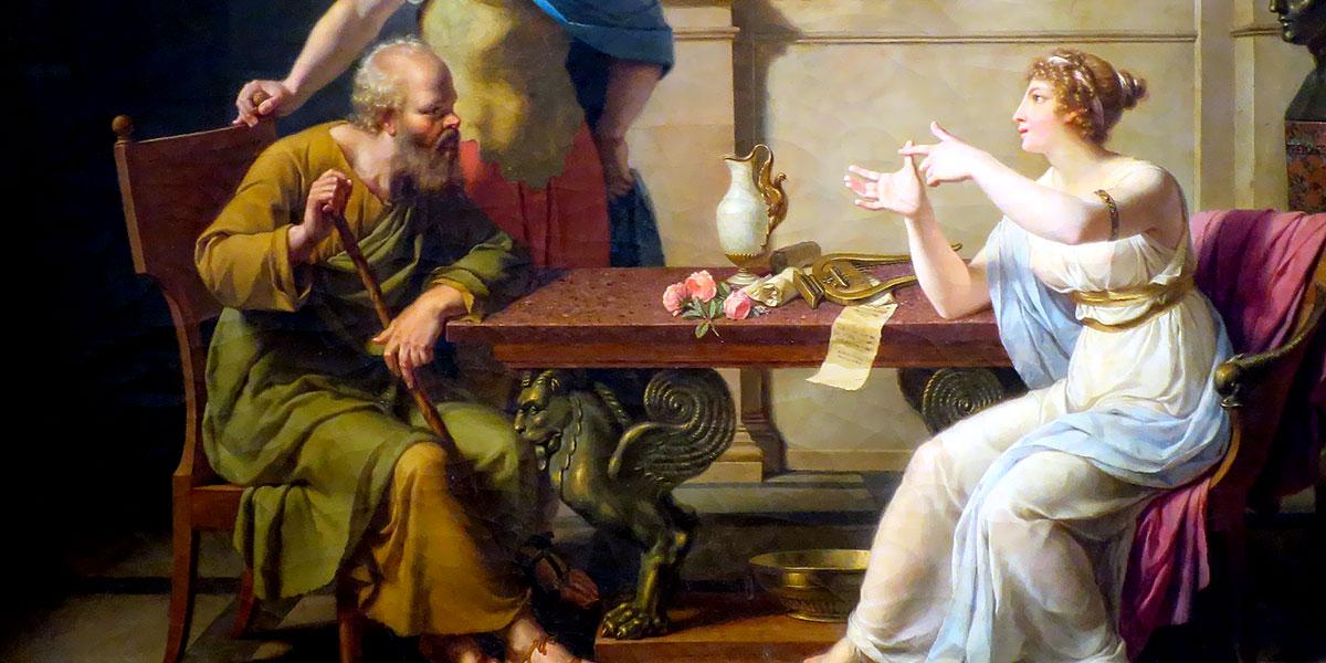 Aspasia conversa con Alcibiade e Socrate. Dipinto di Nicolas-André Monsiau, 1798, Museo Puškin delle belle arti.